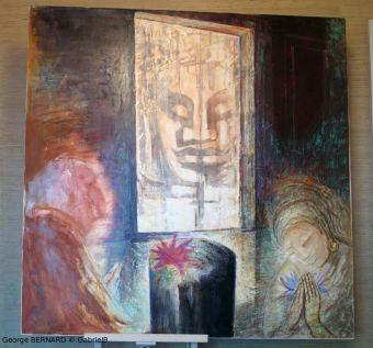 Le penseur et le Bouddha, Cambodge (1970) 150 x 150 cm