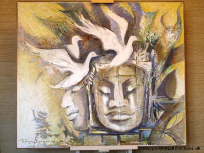 Les oiseaux immortels, Angkor, Cambodge (1995) 150 x 150cm