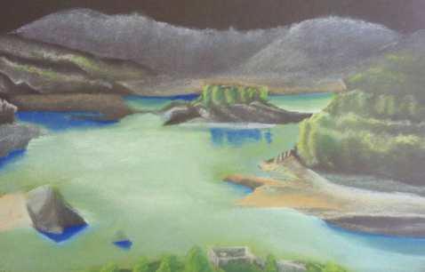 Lac réservoir de Castellon. Pastel © JLC – 2014