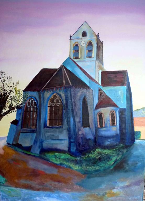 L'église d'Auvers sur Oise ou « salut l'artiste »