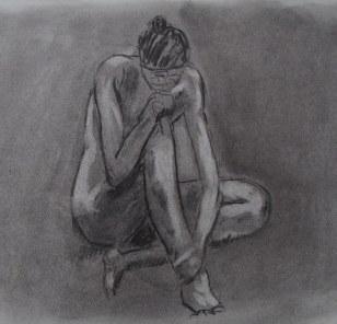 Modèle assise (pose 15 min) – janvier 2013 fusain sur papier