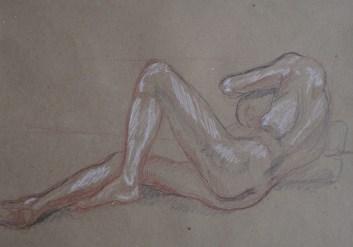 Modèle allongée (pose 40 min) graphite, sanguine et craie sur papier
