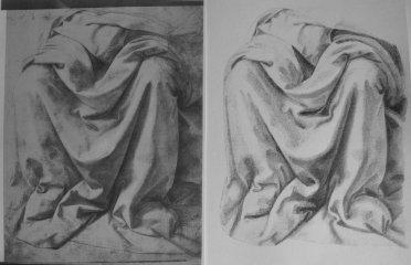 Drapé d'après Lorenzo di Credi Stylo bic sur papier