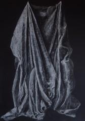 Etude drapé craie sur papier noir