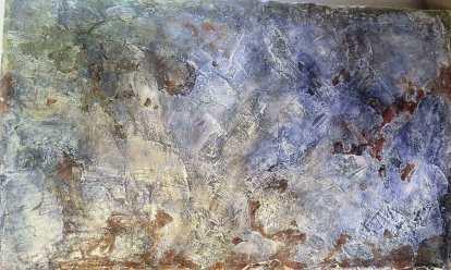 Cires colorées sur ciment et plâtre. © JLC 2003