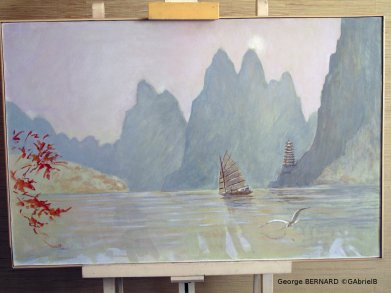 Sur le Yang Tsé, Chine (1980) 89 x 116 cm