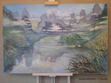 Rivière Li aux alentours de Koueilin, Chine (1980) 73 x 92 cm