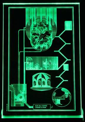 Petit Verre vert. Gravure Laser 20x30x1cm. Exemplaire numéroté de 1 à 8 EA de I à IV