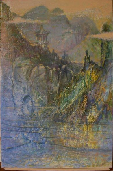 Souvenir du lac de l'ouest, Hanshou, Chine (1987) - 100 x 50 cm