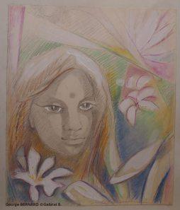 Jeune fille au frangipanier (Huile sur carton)