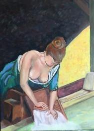 Le lavoir; huile sur toile; 33x40