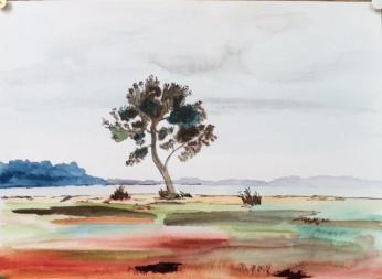 lacanau lac 1; aquarelle