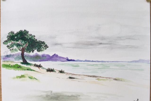Lacanau lac; aquarelle