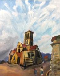 L'église de Champagne sur Oise; huile sur toile; 40x50