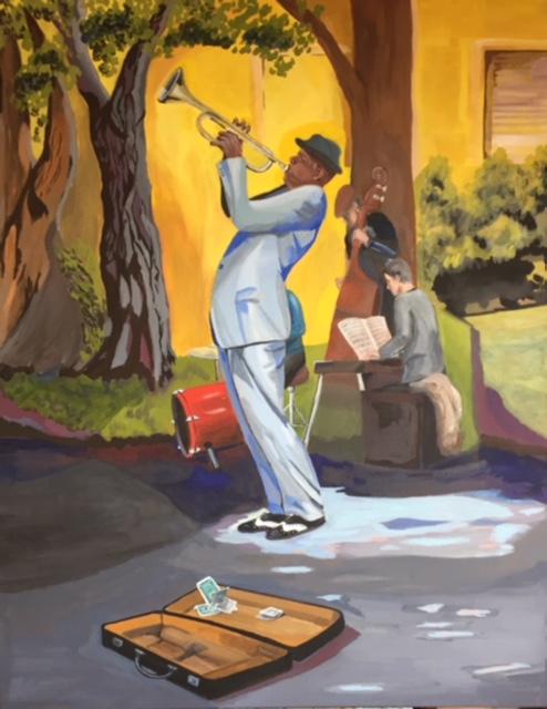 Musiciens Whashington square-NYC; septembre 2014; tempera à l'oeuf sur toile; 80x100